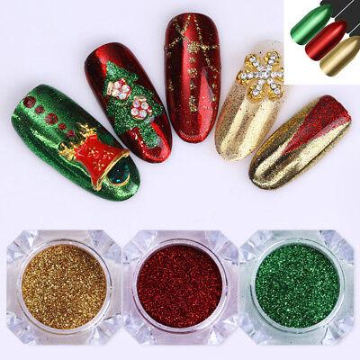 Christmas Xmas Nail Art Glitter Dust Powder Chrome Pigment Manicure Decor Tips - Christmas Glitter