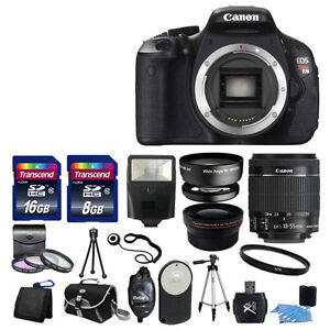 Canon EOS Rebel T3I 600D Body + 3 Lens Kit 18-55mm IS +24GB DSLR Kit TOP VALUE!