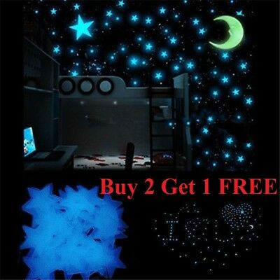 100 pcs Pack Glow In The Dark 3D Stars Moon Stickers Bedroom Wall Room Decor DIY - Star Stickers