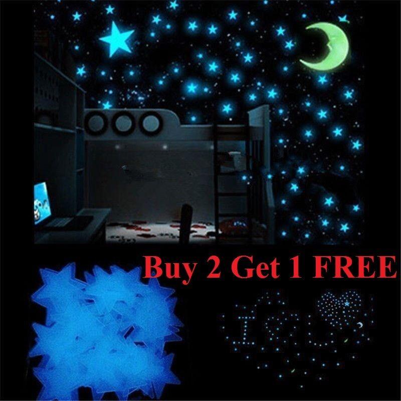 100 pcs Pack Glow In The Dark 3D Stars Moon Stickers Bedroom Wall Room Decor DIY Decals, Stickers & Vinyl Art