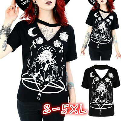 Steampunk Summer Women Gothic  Retro Floral Tops V-Neck Black T-Shirt Clothes](Steampunk Clothes For Women)