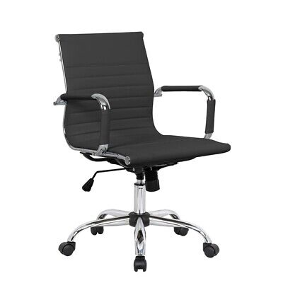 Leisuremod Harris Modern Leatherette Executive Swivel Office Chair In Black