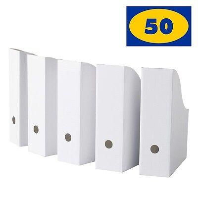 Ikea Flyt White Magazine File Holders Pack Of 50 Corrugated Paper Organizer