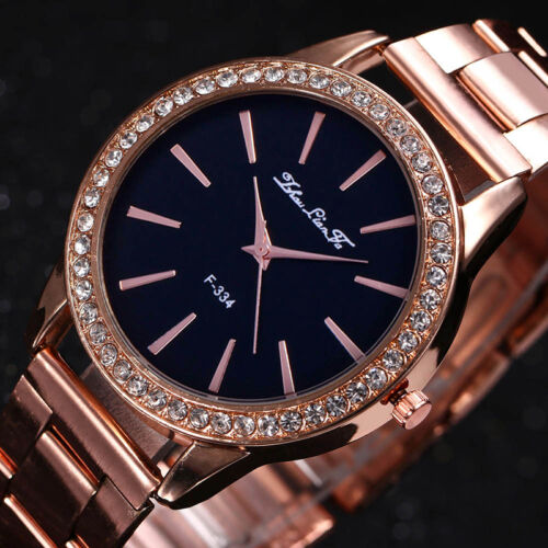 Mode Rose Gold Ton Damenuhren Frauen Softech Quarz Armbanduhr Neu
