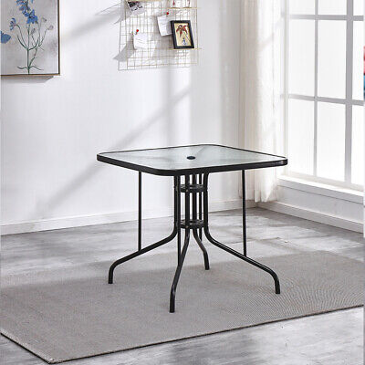 Garden Patio Square Glass Dining Table Bistro Cafe Outdoor Furniture Side Table