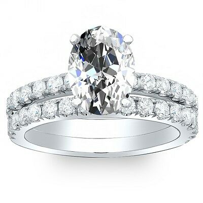 2.70 Ct. Oval Cut Pave Diamond Engagement Bridal Set - GIA CERTIFIED & APPRAISED