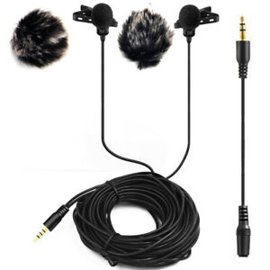20FT Dual Headed Lavalier Microphone with 2 Windscreen Muffs