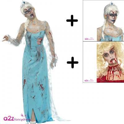 Zombie Froze to Death Adult Ladies Halloween Fancy Dress COSTUME + WIG + MAKE-UP - Halloween Costumes To Make
