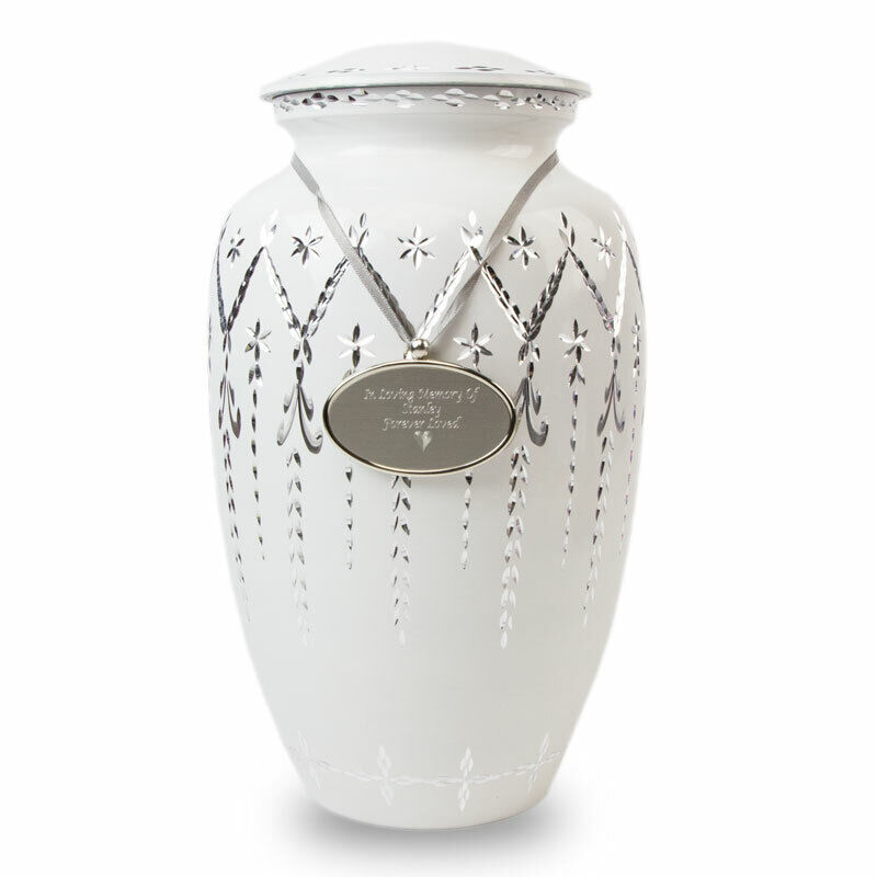 Garland Drop Alloy Metal Urns For Ashes - Large  White