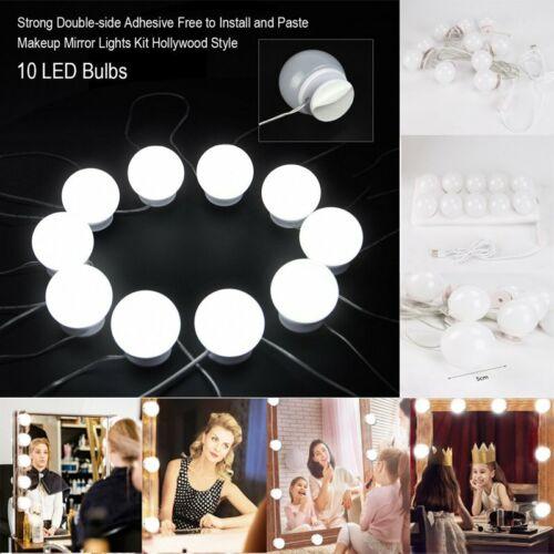 10X LED Hollywood Style Vanity Mirror Light Dimmable Bulbs Set für Dekoration BS