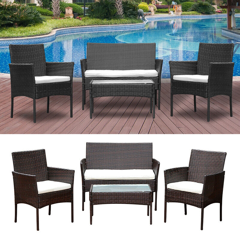 4Pcs Rattan Garden Furniture Set Patio Outdoor Table Chairs