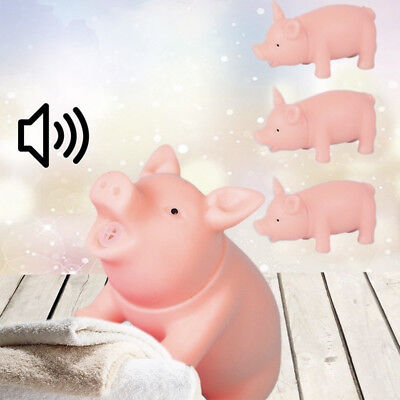 1X NEW Pet Puppy Chew Squeaker Squeaky Rubber Sound Pig Funny Dog Toys Supplies (Rubber Pig)