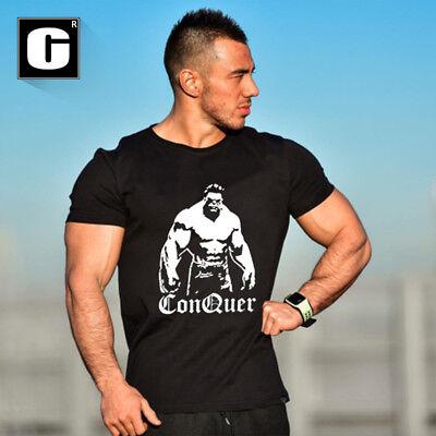 Men's Gym Hulk Bodybuilding Cotton Muscle Workout Sport O-Neck T-shirt Tee Vest (Hulk Muscle T Shirt)