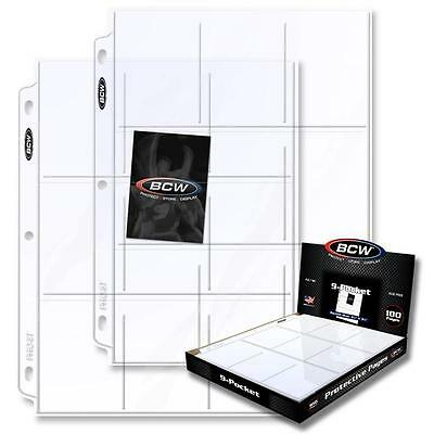 100 Pocket Album - Box 100 BCW 9-Pocket Clear Trading/Sports Card Album Pages/ Coupon Binder Sheets