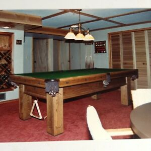 Solid Oak Pool Table with Accessories