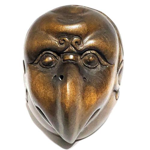 "Y1188 - 1.8 "" Hand Carved Boxwood Netsuke : Tengu Monster Mask"