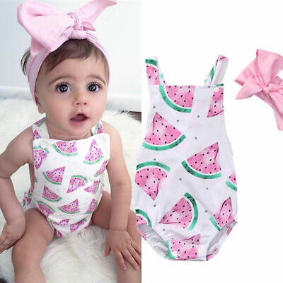 Toddler Kid Baby Girl Watermelon Romper Bodysuit Jumpsuit Outfit Sunsuit Clothes