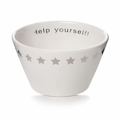 Ceramic White Snack Bowl Silver Stars & Help Yourself
