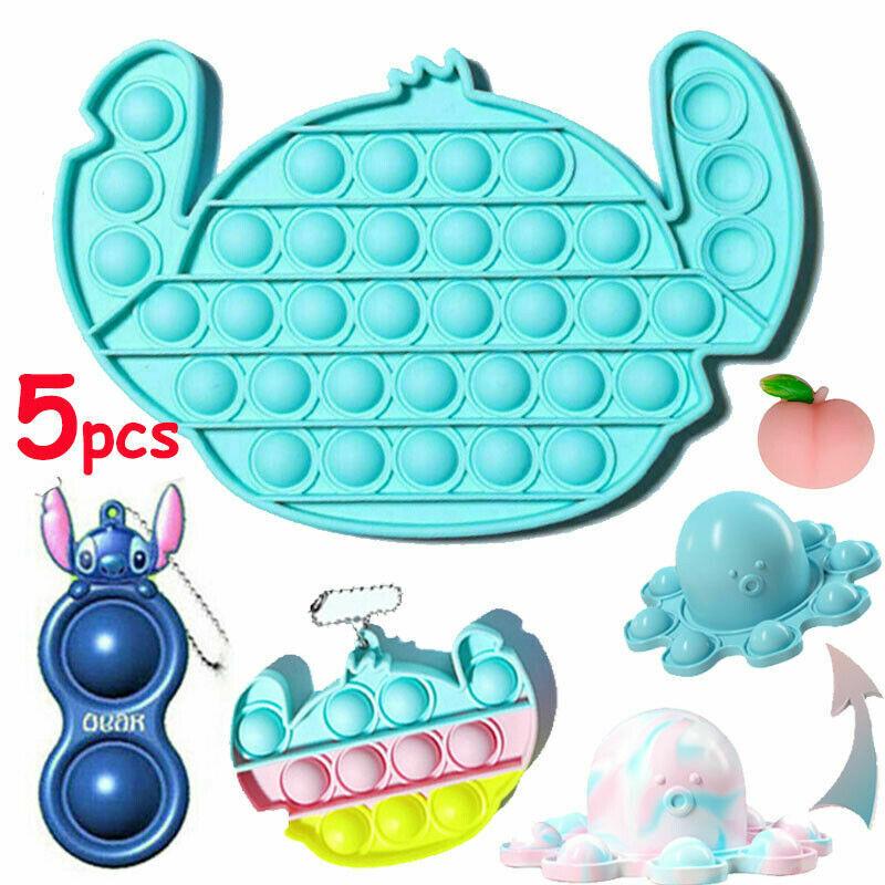5 Pack Stitch Popit Bubble Simple Dimple Fidget Sensory Toys Set Stress Relief