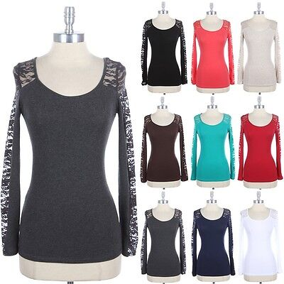 Lace Sheer Long Sleeve Top Solid Body Round Neck T Shirt Casual Cotton S M -