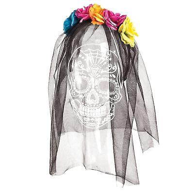 band Headdress Bride Black Veil Roses Flowers Halloween Hat (Bride Of The Dead Kostüm)