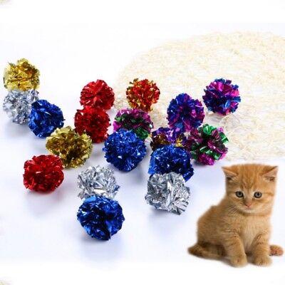 Dog Cat Pet Crinkle Foil Play Balls Random Color Kitten Touch Sound Toy 12Pcs UK
