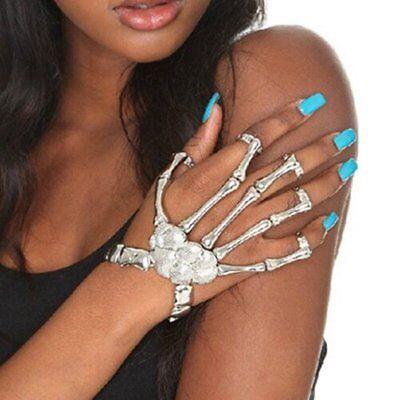Silver Talon Skeleton Hand Finger Bone Bracelet Ring Gothic Skull - Skeleton Hand Ring Bracelet