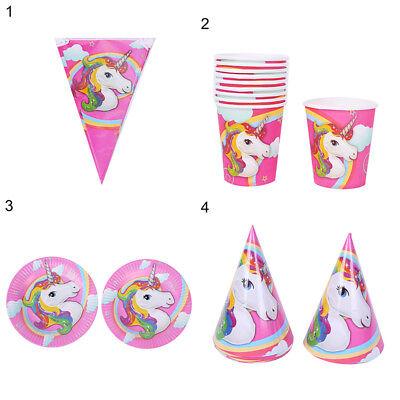 Unicorn Theme Party Supplies Decor Happy Birthday Paper Cup Plate Hat Modish