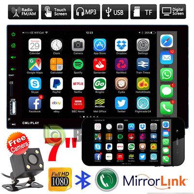 7'' HD Bluetooth Touch Screen Car Stereo Radio 2 DIN FM/MP5/USB/Mirror Link +Cam
