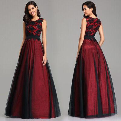 Ever-Pretty US Elegant Bridesmaid Dress Applique Mesh Prom Dress Burgundy 07545 Burgundy Bridesmaids Prom Gown