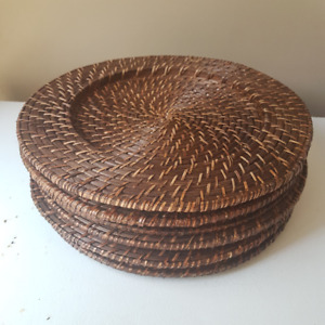 Set of 6 Honey Brown Rattan Charger Plates-Good pre-owned cond.