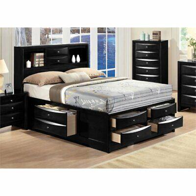 queen storage bed in black