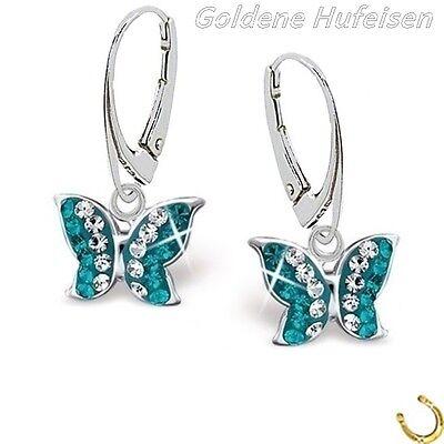 Türkis Kristall Schmetterling Brisur Ohrringe 925 Echt Silber Mädchen