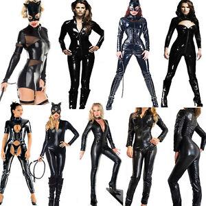 PVC-Catsuit-Faux-Leather-Dress-Spandex-Vinyl-Lingerie-Bodysuit-Jumpsuit-Clubwear