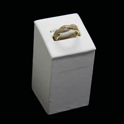 Ring Display Small Single Column White Faux Leather