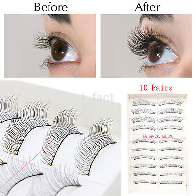 10 Pairs Fashion Beauty Makeup Handmade False Natural Long Eyelashes Sparse
