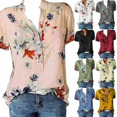 Plus Size Womens Floral Short Sleeve Blouse Ladies Summer Ca