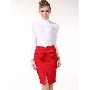 Red ribboned skirt with slit size medium