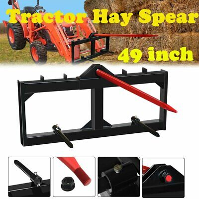 Hay Bale Spear Tractor Skid Steer Loader Attachment 3-tine Spear Quick Attach 49