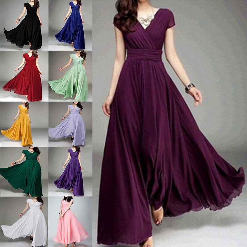 New Women Formal Bridesmaid Evening Cocktail Wedding Gown Party Prom Long Dress