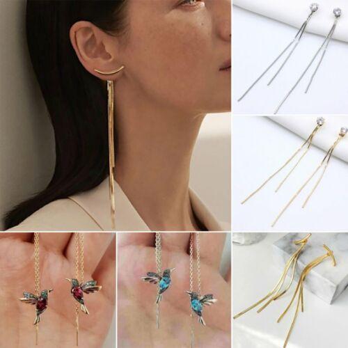 Long Crystal Hummingbird Threader Earrings Tassel Chain Drop
