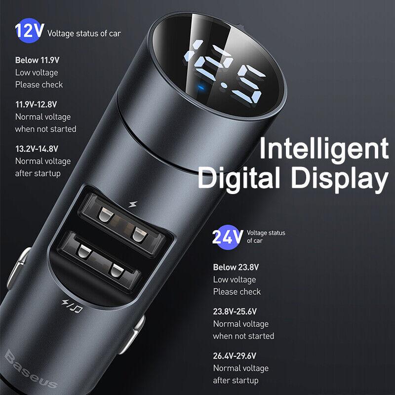 Baseus Bluetooth5.0 Wireless Handsfree Car FM Transmitter MP