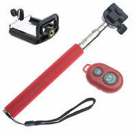 RED Selfie Stick Extandable + Remote Bluetooth for Cell Phone