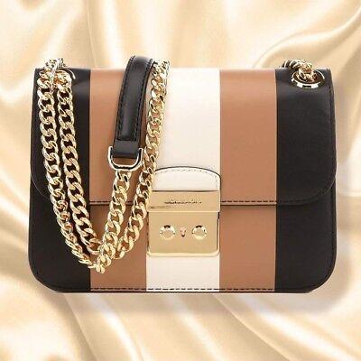 NWT Michael Kors Multi Stripe Sloan Editor Leather Bag Black Ecru Cashew Brown