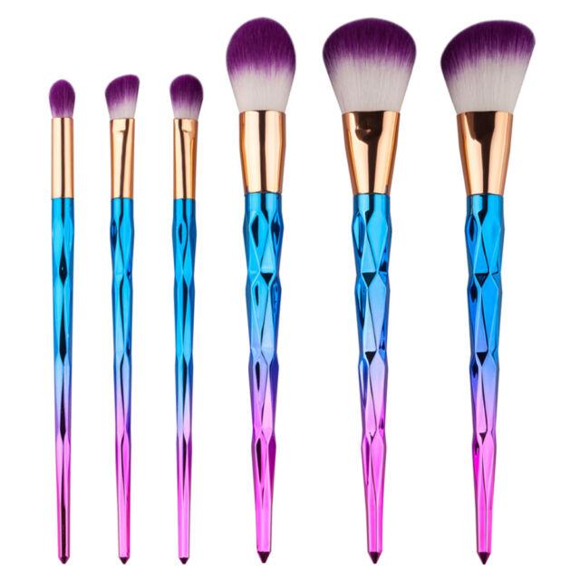 6pcs Unicorn Diamond Make Up Brushes Eyeshadow Powder Foundation Contour Brush