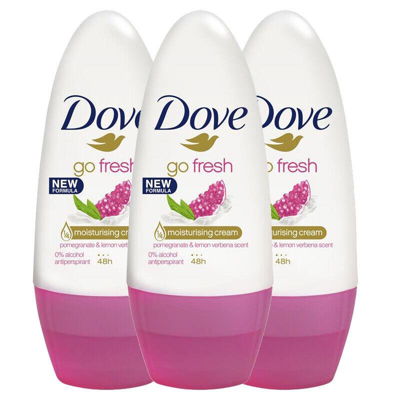 3 x Dove Go Fresh Roll On Pomegranate & Lemon 48 HR Antipers