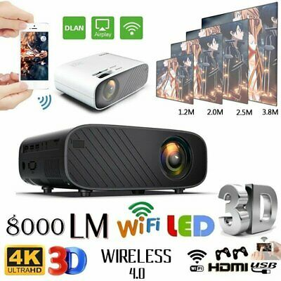 8000Lumens USB HDMI1080P HD WiFi Mini 3D LED Home Theater Projector Cinema