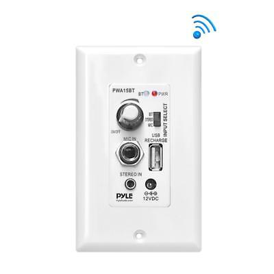 New Pyle Bluetooth In-Wall Receiver, Wall Plate Audio Control Amplifier USB Port ()