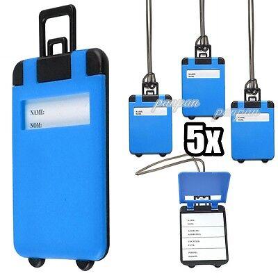 5er Gepäckanhänger Kofferanhänger Namensschild Blau Anhänger Kofferschild