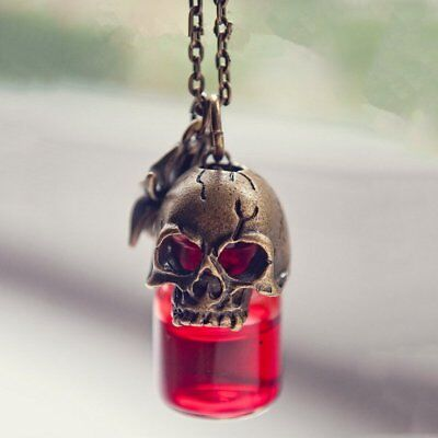 Halloween Gothic Skull Pendant Necklace Vampire Blood Bottle Vial Cosplay